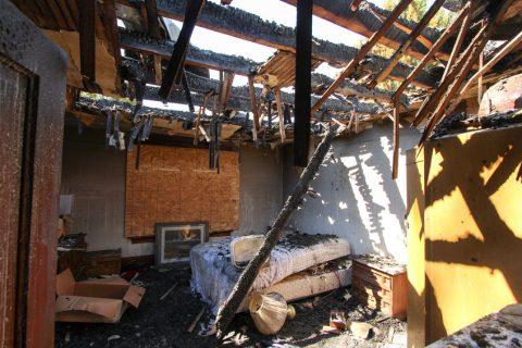 Fire and smoke damage in house